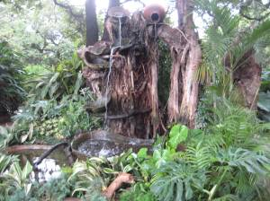 Fountain made with pots and vines at a local nursery.