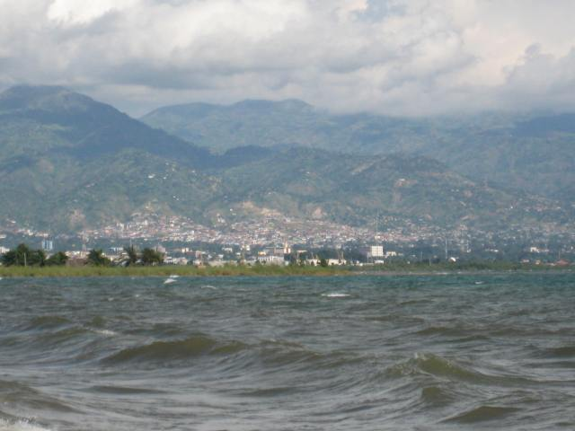Looking at Bujumbura from north side of Lake Tanganiyika