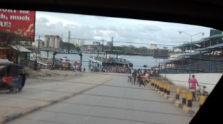 Ferry in Mombasa to cross over mouth of the river.