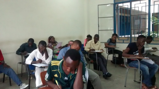 Students taking final exam.