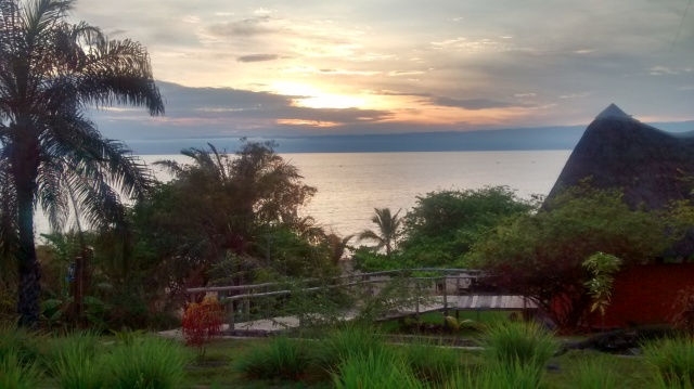 Lake Tanganyika looking across to Congo at sunset